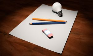 paper, pencil, eraser, light bulb